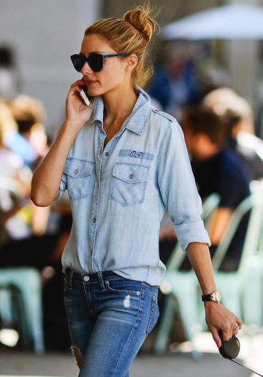 "EXCLUSIVE: EXCLUSIVE - 11/19/14 NYC - Olivia Palermo in a chambray monogram ""OP"" shirt and stylish ripped jeans walks her dog, Mr. Butler in Brooklyn, New York City on Wednesday July, 22nd, 2015. Credit: Luis Yllanes / Splash News Pictured: Olivia Palermo Ref: SPL1084272 220715 EXCLUSIVE Picture by: Luis Yllanes / Splash News Splash News and Pictures Los Angeles: 310-821-2666 New York: 212-619-2666 London: 870-934-2666 photodesk@splashnews.com"